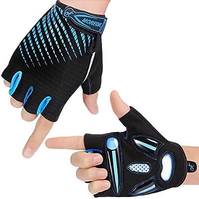 Fahrradhandschuhe für Herren und Damen, Atmungsaktiv Halbfinger Fahrradhandschuhe SBR Gel Radsporthandschuhe Rutschfestes Stoßdämpfende MTB Fahrrad Handschuhe Blau M