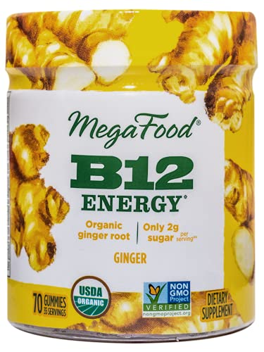 Product Image of the MegaFood, Certified Organic B12 Energy Ginger Gummies, Soft Chew Vitamin B12...