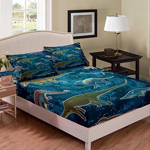 Homewish Jurassic Series Juego de ropa de cama con diseño de dinosaurio, estilo retro, estilo vintage, color azul
