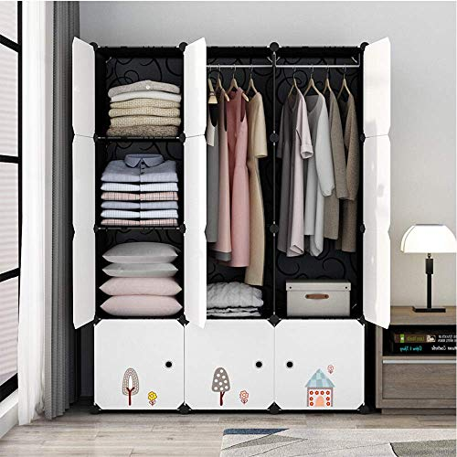 ZGQA-GQA Fai da te portatile armadio semplice Nordic Style risparmio di spazio Armoire Abbigliamento gabinetto armadi for abbigliamento calzature e Giocattoli (Colore: Bianco, Dimensione: 111x47x147cm