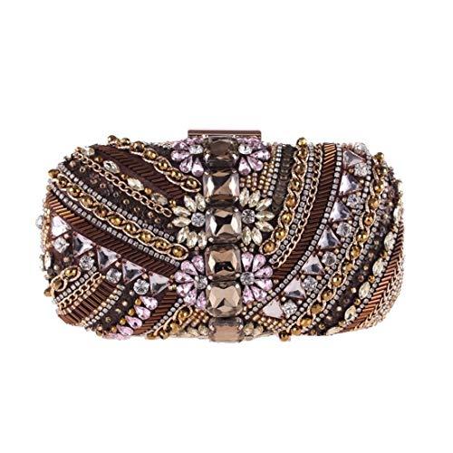 Handtasche, Perlen Abendtasche, Diamant Kupplung, Brieftasche Umhängetasche, (Farbe: Kaffee) Exquisit