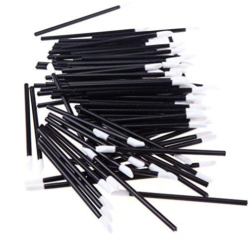 Frcolor 50 Pièces Pinceaux pour Lèvres Yeux Pinceaux Eponge de Maquillage Brosses Applicateurs Noir