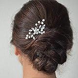 IYOU Horquillas para el pelo con perlas plateadas brillantes accesorios de boda para mujeres y niñas (paquete de 2)