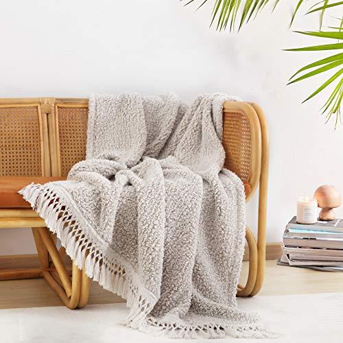 Ultra Soft Cozy Sherpa Throw Blanket, Light Weight Warm Decorative Throw Blanket with Tassel, 2...
