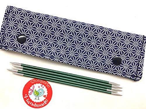 Nadelgarage/Needle Safe/Nadeltasche - für Nadelspiel 15cm - Geometric - blau