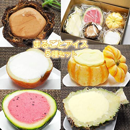 まるごと アイス 5種セット フルーツ かぼちゃ パイン スイカ りんご カカオ 5個入り(各1個) シャーベット