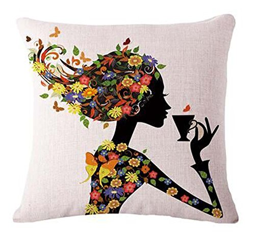 Coton Lin Fille avec rose Aile d'elfes et papillons NEUF décoratifs Taie d'oreiller Couvre-lit Taie d'oreiller Housse de coussin carré 45,7 cm 45,7 cm Home Vie ¡, Coton, 18, 18\