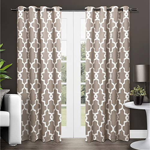 Exclusive Home Curtains Ironwork Sateen Woven Blackout Grommet Top Curtain Panel Pair, 52x84, Taupe, 2 Count