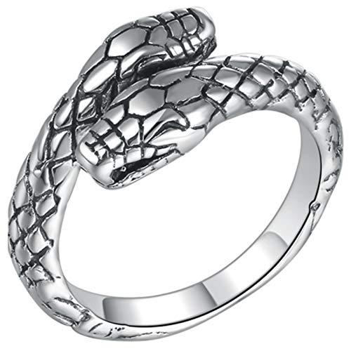 LIMUZHI 925 Apertura Anillo Ajustable, Doble Cabeza de Serpiente de la Manera de la Personalidad Masculina y Femenina Cualquier Solo Dedo anular