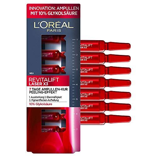 L'Oréal Paris Revitalift Laser X3 Glykolsäure Ampullen - 10% Glykolsäure, AHA Fruchtsäure Peeling-Effekt für reine und strahlende Haut, ebenmäßiger Teint, Pigmentflecken Aufhellung, 7 Tage Kur, 7 ml
