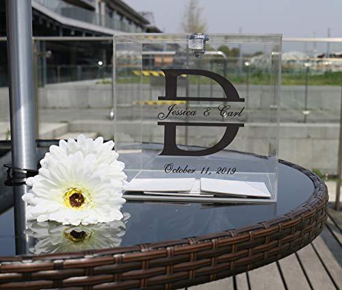 Personalisierte Hochzeitskarten-Box für den Empfang, Kristall-Acryl-Box mit Schnappverschluss und Schlüssel, Hochzeits-Namen, Datum, personalisierbare Party-Halter Spenden-Zeremonie Black Text