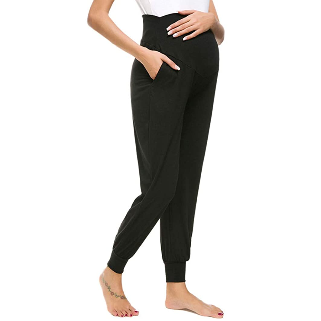 Wiselect Women's Maternity Casual Pants Stretchy Lounge Trousers