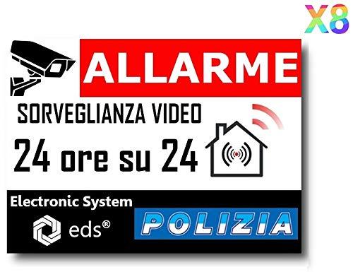 Egero - 8x Adesivi Deterrent' Videosorveglianza Allarme Polizia' Antifurto per Casa, Edilizia, Commercio, Garage. Adesivi di sorveglianza video di qualità professionale.