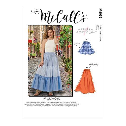 McCall\'s Misses\' Pull-On Gathered Skirts with Tier and Length Variations McCalls Pattern M8066Y Damenröcke mit Rändern und Längenvariationen Y (XSM-SML-MED), verschieden