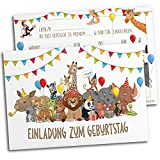 12x Einladungskarten für Kindergeburtstag | Safari-Tiere | Für Jungen & Mädchen | Einladungskarten Geburtstag Kinder Junge Zoo | Partyeinladungen Jungs Mitgebsel Löwe bunt Geburtstagseinladungen