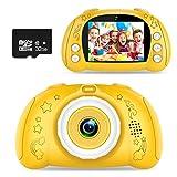 WOWGO Kinder Kamera, Digital Fotokamera Selfie Fotoapparat USB Wiederaufladbarer Videokamera mit 2.4 Zoll Bildschirm/12 Megapixel/1080P HD/Dual Lens/32GB TF Karte/Stickers, Geschenk für Kinder