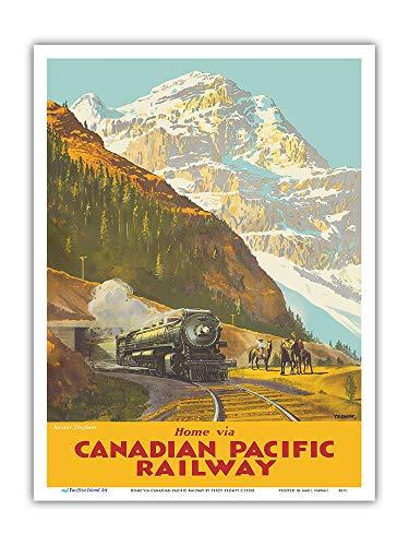 Mont Stephen, Colombie britannique - Chemin de fer Canadien Pacifique - Affiche ferroviaire de Percy Trompf c.1930s - Impression d'art 23 x 31cm
