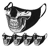 TOPEREUR 5 Stück Mundschutz Multifunktionstuch 3D Motorrad Winddicht Maske Halloween Waschbar Atmungsaktiv Stoffmaske Baumwolle Mund-Nasen Bedeckung Totenkopf Blumen Halstuch Schals für Herren Damen