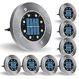 Lámparas Solares de Jardín, 8 Luces de Disco Solar LED Integradas, Luces Conmutadas Resistentes a la Intemperie para Caminos, Patios, Pasillos y Césped (8 Paquetes)