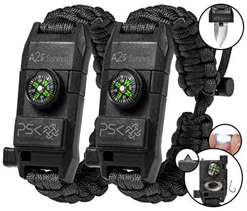 PSK Paracord Bracelet 8-in-1 Personal Survival Kit Urban & Outdoors Survival Knife, Fire Starter, Glass Breaker, Survival Whistle, Signal Mirror, Fishing Hook & String, Compass (Black / Black)