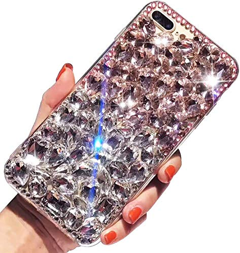 New Bling Diamond Case For Samsung Galaxy S20 6.2″,Aearl 3D Homemade Luxury Sparkle Crystal Rhinestone Shiny Glitter Full Clear Stones Back Phone Cover With Screen Protector -Clear Pink