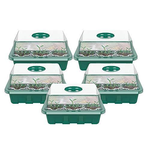 ATopoler Zimmergewächshaus Anzucht Greenhouse Anzuchtset Mini Gewächshaus Treibhaus Anzuchtkasten Anzuchtschale mit Deckel Belüftung Kunststoff Pflanztöpfe Pflanzkasten für Sämling Setzlinge (Typ-B)