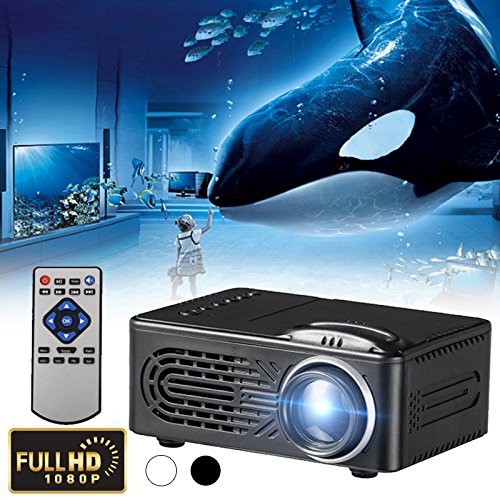 Hanbaili Mini proiettore Video LED G814, 6000 Lumen Multimedia Home Theater Supporto per videoproiettore 1080P Scheda SD USB Home Cinema TV Gioco per Portatile iPhone Smartphone Android con Cavo