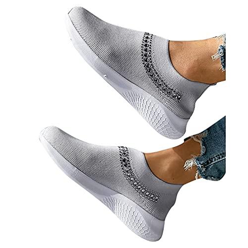 Dasongff Chaussures de sport pour femme - Amortissement Slip On Mesh - Chaussures de course légères et respirantes - Confortables - Pour le trekking et les loisirs