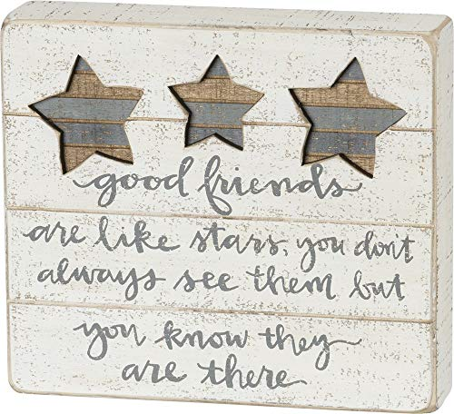 Primitives by Kathy Hand-Lettered Box Sign, 8' x 7', Good Friends are Like Stars
