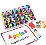 Letras y números magnéticos para niños -222 letras y 20 números y 16 símbolos - imanes de nevera juguetes educativos para niños pequeños - incluye cajas, pizarra magnética, rotuladores y borrador
