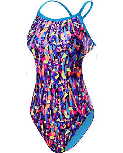 TYR Women's Santa Marta Crosscutfit Tieback Swimsuit, Purple/Yellow, 30