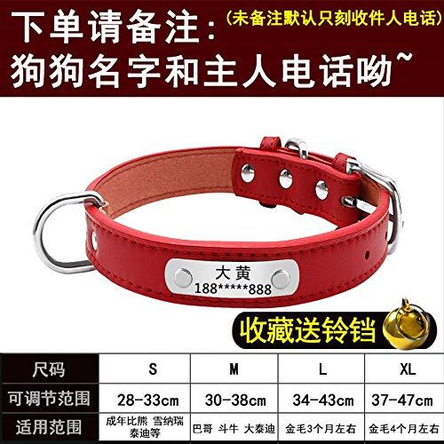 UDstrap Gravierte Artikel Ring Hund Karte Benutzerdefinierte Identitätskarte Inschrift Benutzerdefinierte Katze Marke Hundehalsband Ring Teddy Als Bär M-Mittel rot