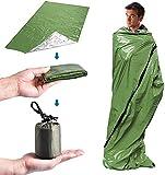Lixada Saco de Dormir de Emergencia Portátil Ligero con Saco con Cordón para Camping Senderismo Viajes Supervivencia