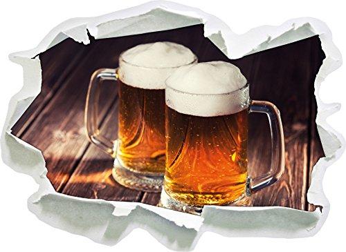 Due Tazze di Birra Dimensioni Adesivo Birra, Carta da Parati 3D: 62x45 cm Decorazione della Parete 3D Wall Stickers murali Stickers