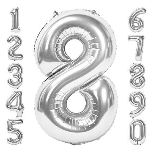 Siumir Silber Number Folienballon Riesenzahl Zahlenballon Zahl 8 Luftballon für Geburtstag, Hochzeit , Jubiläum Party Dekoration
