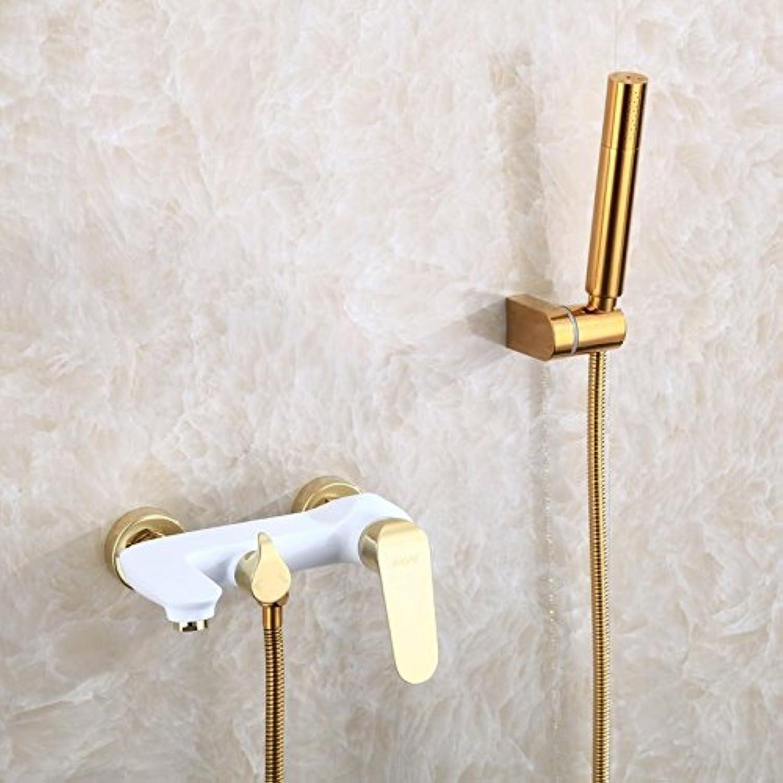 JONTON Bathroom Faucet Sink Taps Diy & Tools Taps Copper Black gold Hot And Cold Bathtub Faucet Wall Handheld Shower Set Cylinder Faucet, White Faucet + Shower Set