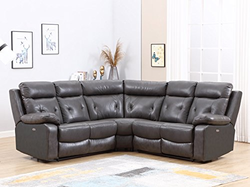 Blackjack Furniture 9443 Albany Collection Leather Air Upholstered Reclining Living Room, Power Sectional Sofa, Dark Gray