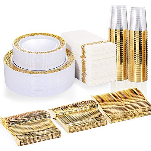 BUCLA 350PCS Gold Plastic Plates with Disposable Plastic Silverware&Hand Napkins, Gold Plastic Dinnerware Lace Design include 100 Plates,50 Forks, 50 Knives, 50 Spoons,50 Cups,50 Disposable Napkins