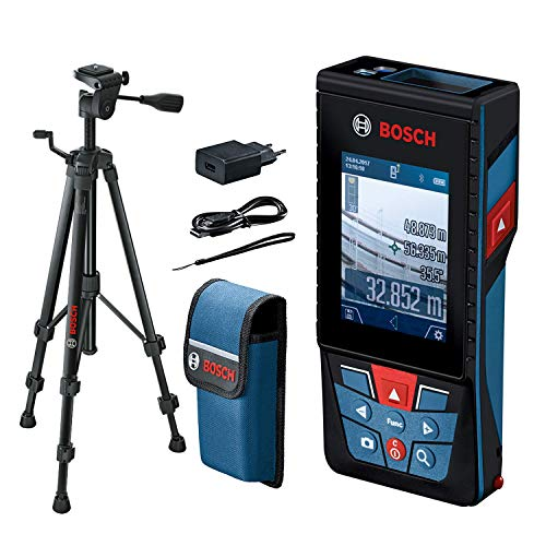 Bosch Professional Laser Entfernungsmesser GLM 120 C mit Stativ BT 150 (Kamera, Bluetooth-Datentransfer, max. Messbereich: 120 m; Stativ, Micro-USB-Kabel & Ladegerät, Trageschlaufe, Schutztasche)