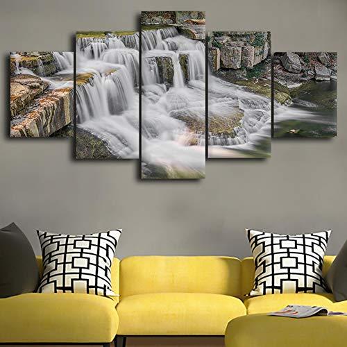LPHMMD 5 stuks canvas schilderij canvas 5 stuks HD waterval schilderij decoratie steen schilderij modern gedrukte poster woonkamer muurkunst
