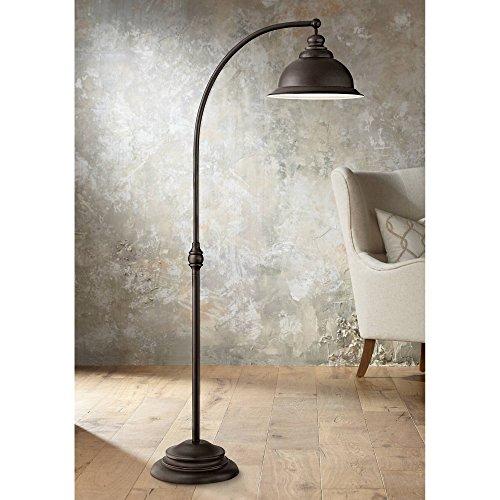 Wyatt II Farmhouse Arc Floor Lamp Dark Bronze Metal Shade Step Switch for Living Room Reading Bedroom Office - Franklin Iron Works