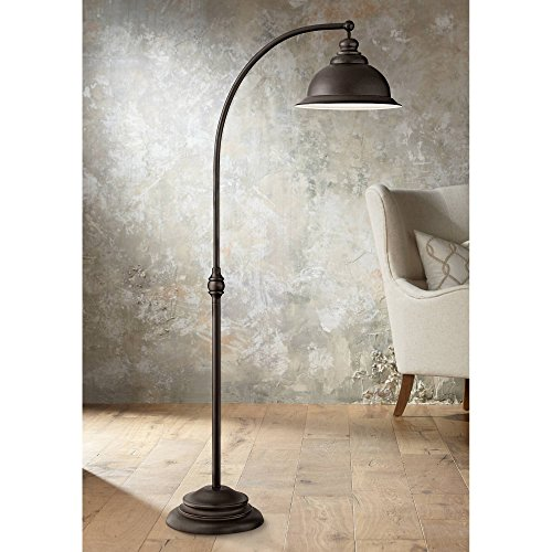 Wyatt II Farmhouse Arc Floor Lamp Dark Bronze Metal Shade Step Switch for Living Room Reading Bedroom Office - Franklin Iron Works