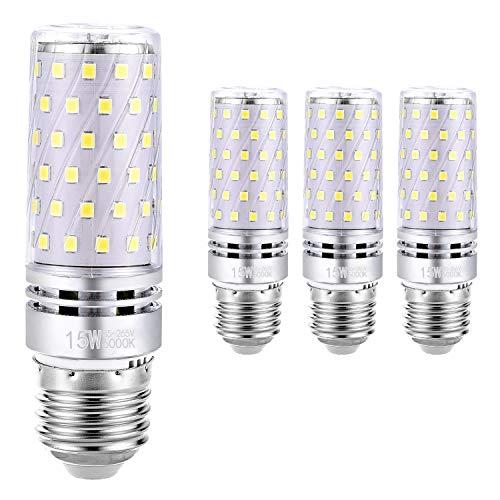 Hzsane E27LED Mais Leuchtmittel 15W, Entspricht 120W Glühbirnen, 6000K Tageslicht Weiß Kandelaber E27 Leuchtmittel, 1500lm, LED Birne, Edison Schraube LED Leuchtmittel, 4-Pack