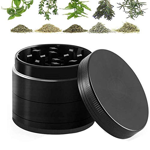 """Herbs Grinder, 4 Piece 2"""" for leaves, Spices, and wheat with Pollen Scraper, Magnetic Lid and Sharp tools.(Black)"""