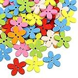 100 bottoni in legno a forma di fiore di legno prugna bottoni in legno a 2 fori, bottoni a forma di fiore di prugna, rotondi, colori misti, per cucito, scrapbooking, artigianato, decorazioni fai da te