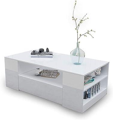Coffee Table high-Gloss 2 Drawer Storage Rack Wood White Living Room 120CM