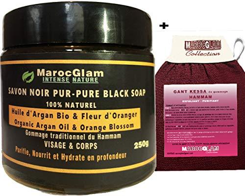 Jabón negro marroquí con flor de naranja + guante Kessa de goma – Hammam marroquí exfoliante – Purificante