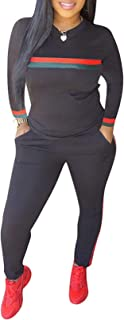 Women 2 Pieces Outfits Long Sleeve Top and Long Pants Sweatsuits Set Tracksuits