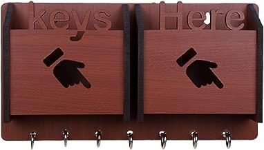 Sehaz Artworks KeysHere-BR-KeyHolder Wooden Key Holder (7 Hooks)