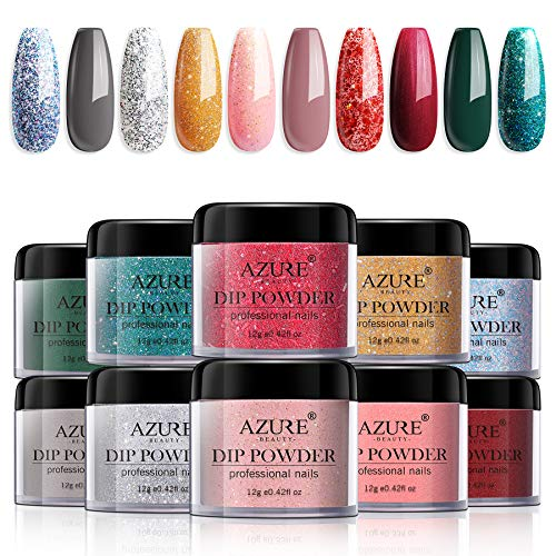 Dipping Nail Powder Set - 10 Colors Dip Powders Nails Set for Christmas No Nail Lamp Needed for French Nail Manicure Nail Art
